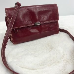 Aurielle Red Leather Small Crossbody Wallet Purse